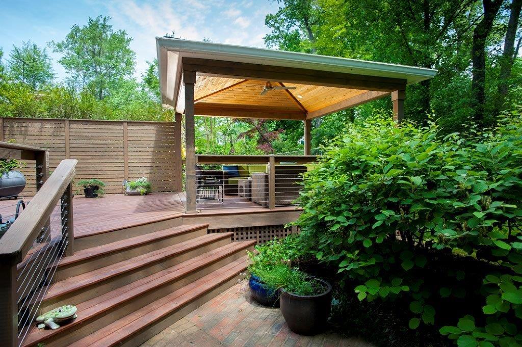 Steel Cable Handrails With Wood Posts In Bethesda MD Why Modern Materials And Contemporary Designs Cost More Than Traditional Decks