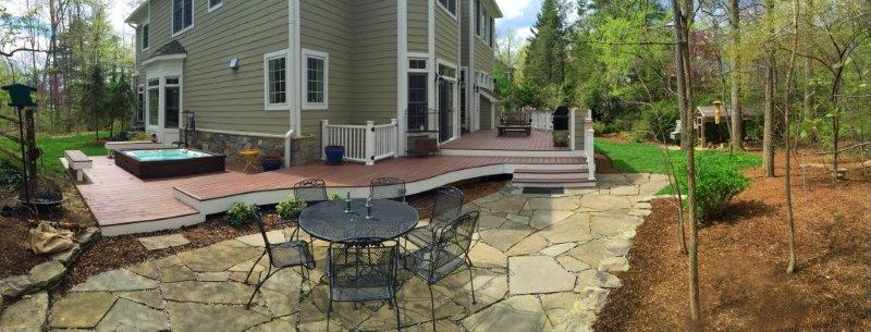 curved deck and designer patio in Bethesda, Maryland