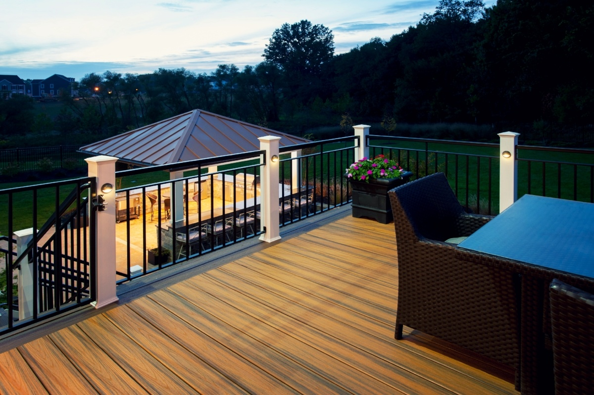 trex deck in maple lawn, maryland at dusk