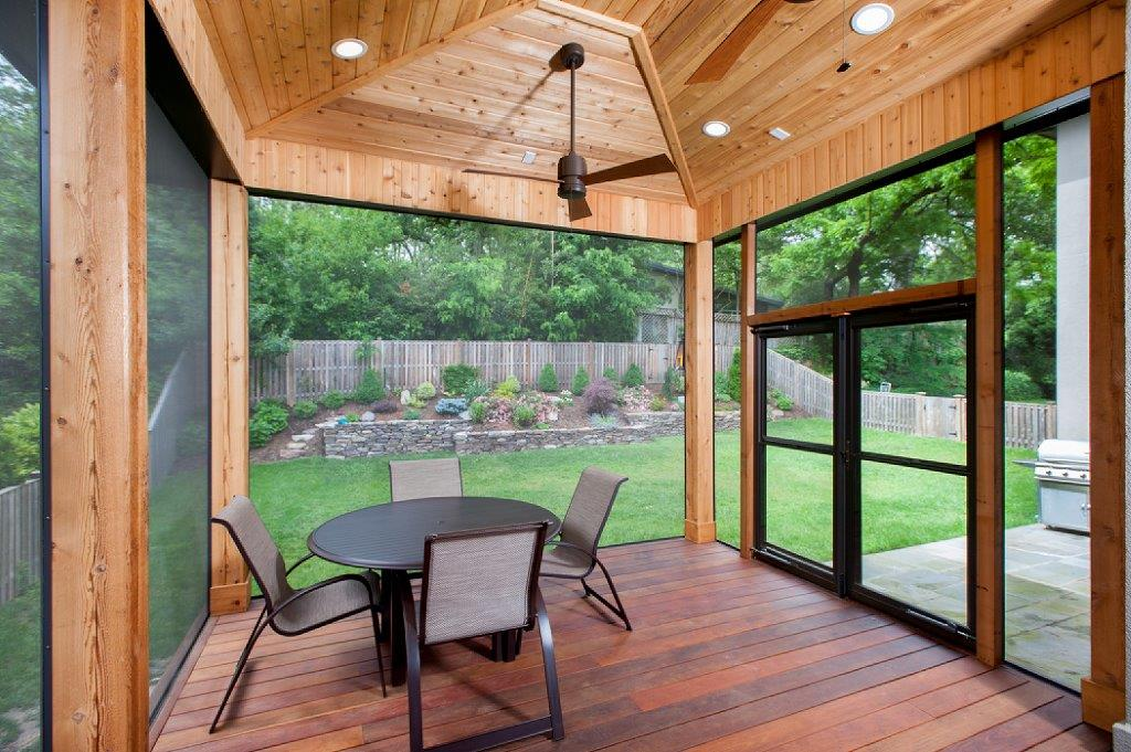contemporary screened enclosure interior Bethesda Maryland