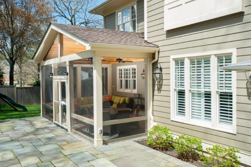 Craftsman Style Screened Porch With Custom Flagstone