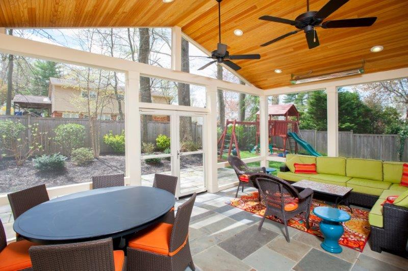 tongue and groove pine ceiling screened porch