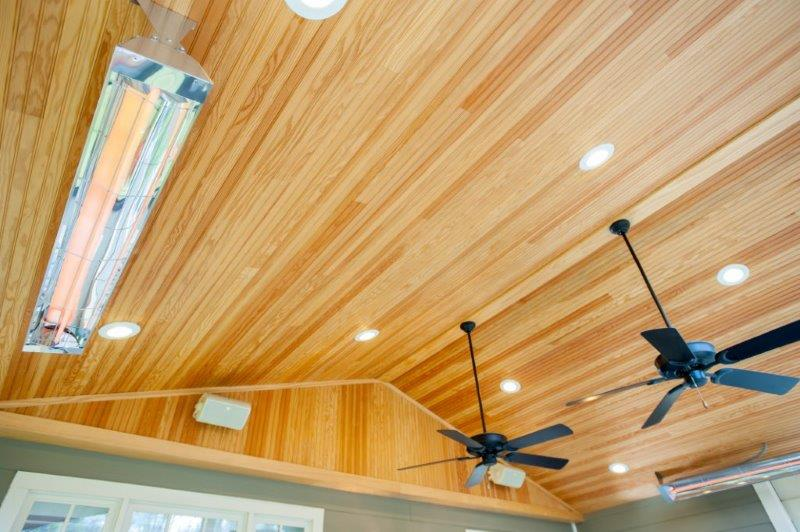 tongue-and-groove pine ceiling with Infratech heaters and ceiling fan