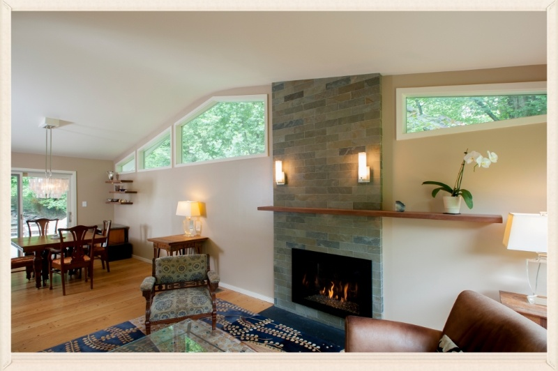 interior remodel with new windows and underlit shelves, Carderock Springs