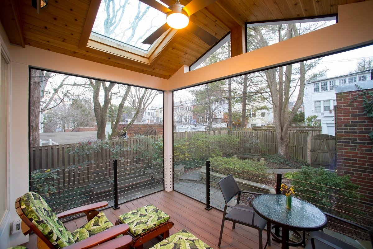 custom screened porch Bethesda interior with large porch screens and stainless steel cable handrails
