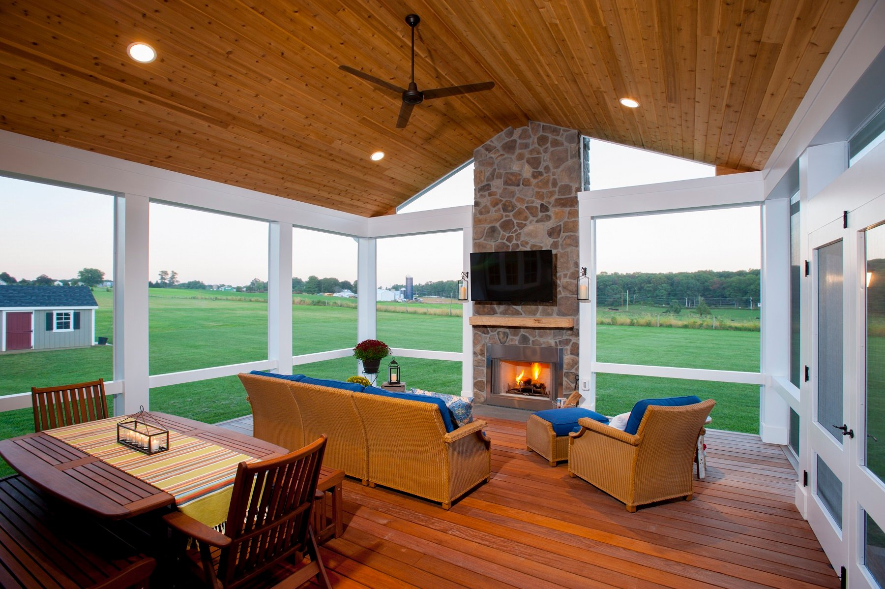 Custom Screened Porch Design In Maryland With Stone